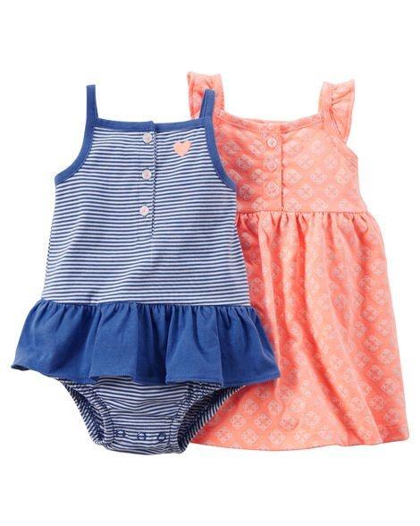 Conjunto 2 peças vestido laranja e body azul com babado - CARTERS