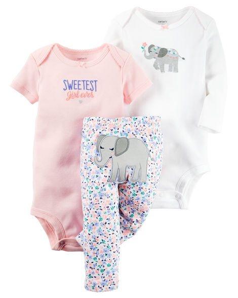 Conjunto 3 peças branco e rosa Elefantinho - CARTERS