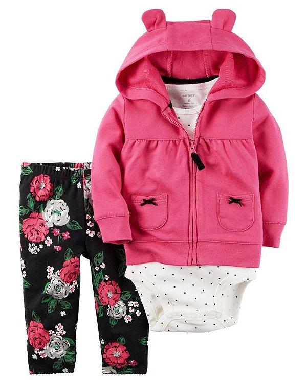 Conjunto 3 peças casaco pink em fleece e calça legging preta florida - CARTERS