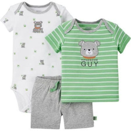 Conjunto 3 peças cinza e verde Cachorrinho Child of Mine made by CARTERS
