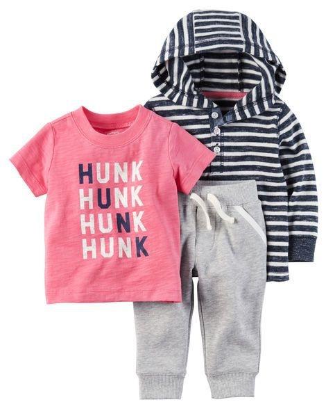 Conjunto 3 peças em malha blusa listrada com touca, camiseta goiaba e calça cinza - CARTERS