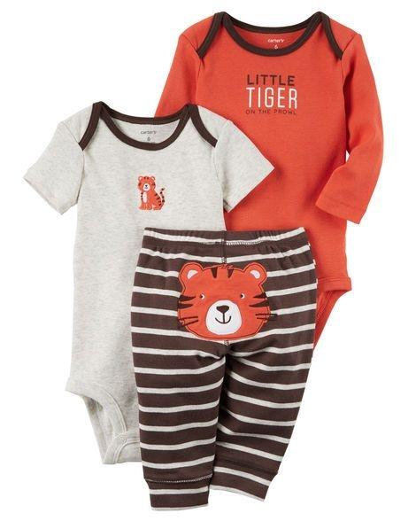 Conjunto 3 peças laranja e marrom Tigre - CARTERS