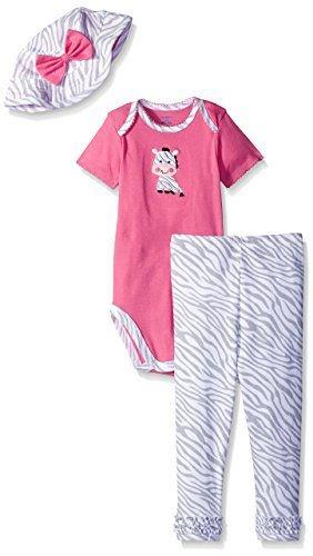 Conjunto 3 peças rosa e cinza zebrinha - GERBER