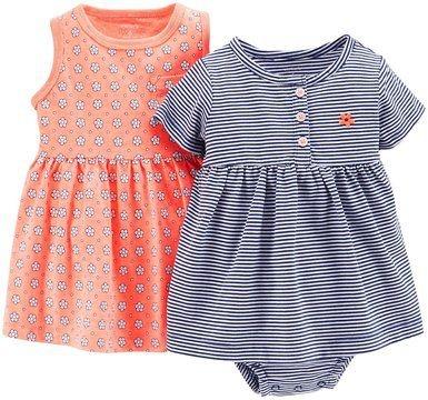 Conjunto Vestido 2 peças azul e laranha - Carter's