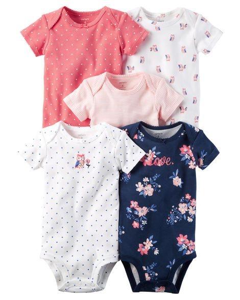 Kit body 5 peças rosa a azul marinho floral - CARTERS