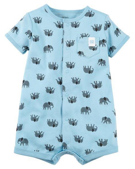 Romper azul em malha Elefantinhos - CARTERS