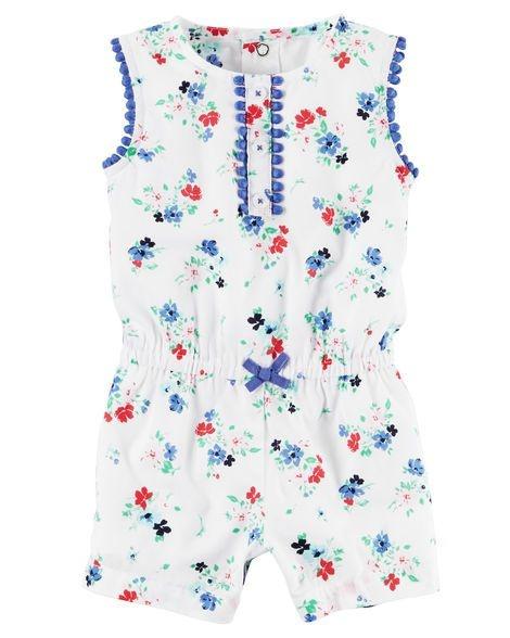 Romper branco floral detalhes em azul - CARTERS