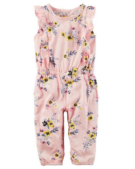 Romper longo em malha rosa floral - CARTERS