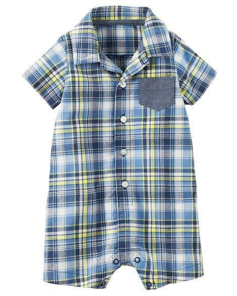 Romper xadrez azul e amarelo com bolsinho em chambray - CARTERS