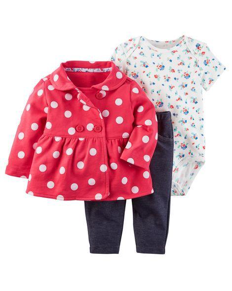 Conjunto 3 peças poá vermelho com calça imita jeans - CARTERS
