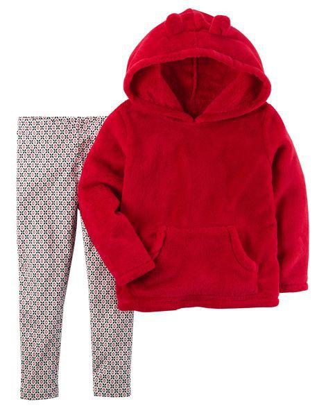 Conjunto 2 peças blusa em sherpa vermelha e calça legging estampada - CARTERS