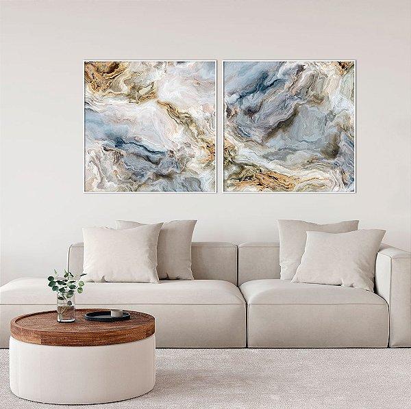 Conjunto com 02 quadros decorativos Abstrato Azul e Bege