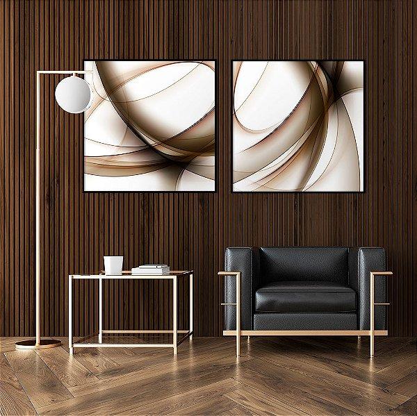 Conjunto com 02 quadros decorativos Abstrato Tons Sóbrios