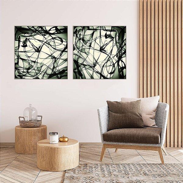 Conjunto com 02 quadros decorativos Movimento Abstrato Verde