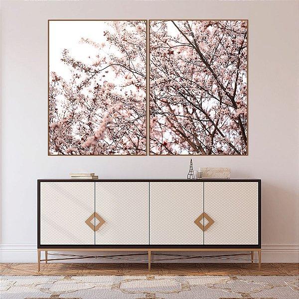 Conjunto com 02 quadros decorativos Cerejeira Rosê