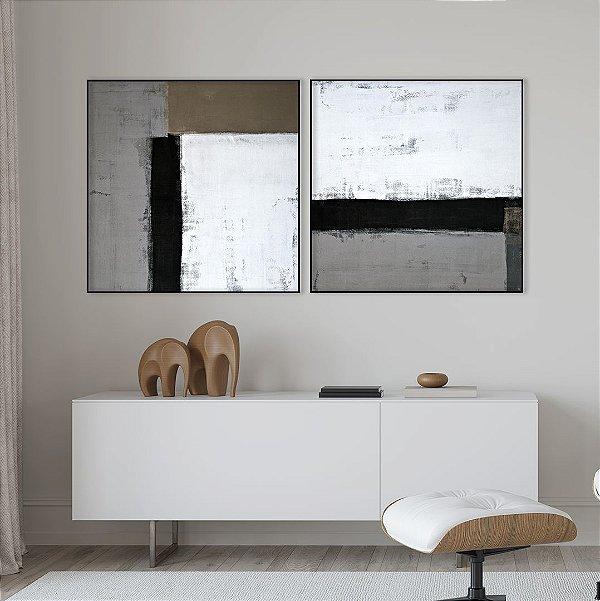 Conjunto com 02 quadros decorativos Abstrato Preto, Cinza, Branco e Marrom