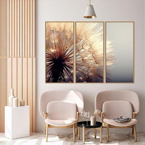 ENVIO IMEDIATO - Conjunto com 03 quadros decorativos Dente-de-leão 50x100cm (LxA) Moldura cor Cobre