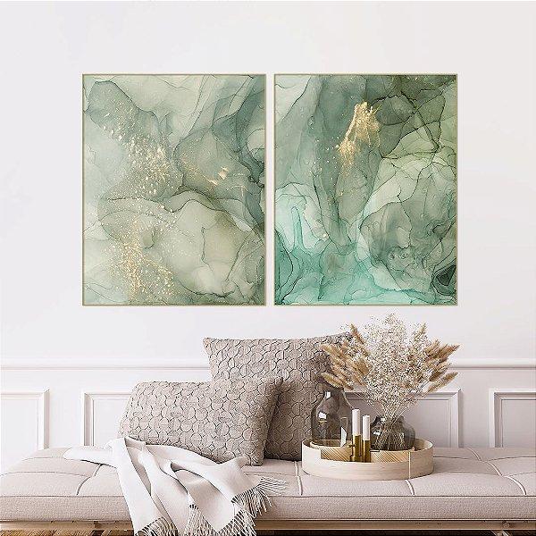 ENVIO IMEDIATO - Conjunto com 02 quadros decorativos Abstrato Verde 70x84cm (LxA) Moldura Dourada