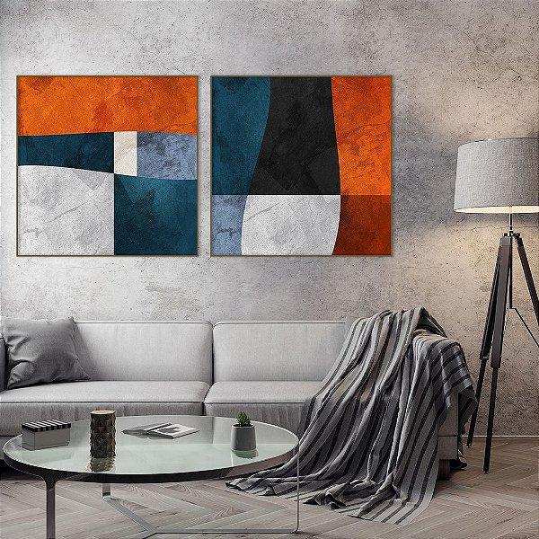 Conjunto com 02 quadros decorativos Formas Geométricas Cores - Artista Uillian Rius