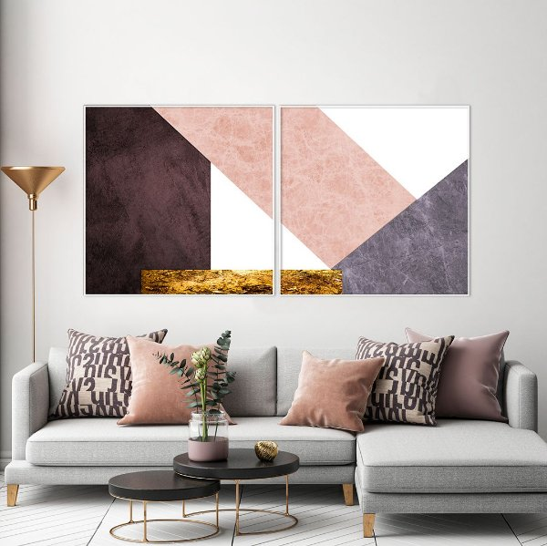 Conjunto com 02 quadros decorativos Geométrico Rosê - Artista Uillian Rius