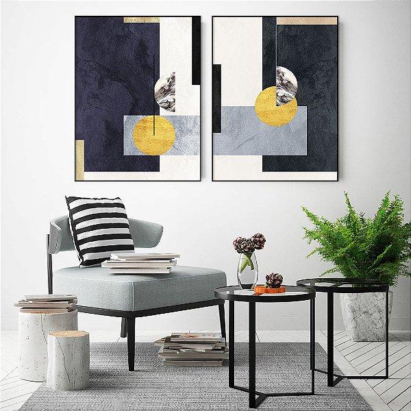 Conjunto com 02 quadros decorativos Geométricos Azul - Artista Uillian Rius