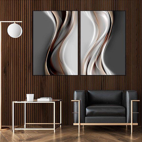 Conjunto com 02 quadros decorativos Abstrato Movimento