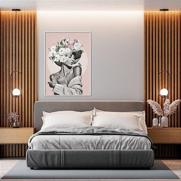ENVIO IMEDIATO - Quadro Decorativo Woman Flowers Artista Claudia Dias 70x90cm (LxA) Moldura cor Branco