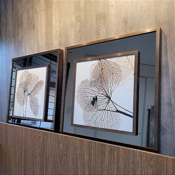 ENVIO IMEDIATO - Conjunto com 02 quadros decorativos Flores Secas 60x60cm (LxA) Moldura Cobre sobreposta em espelho bronze