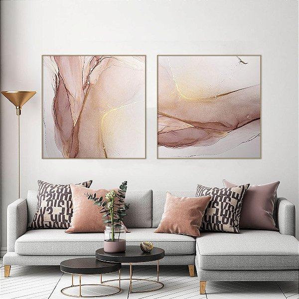 Conjunto com 02 quadros decorativos Abstrato Rosê com detalhes em Dourado