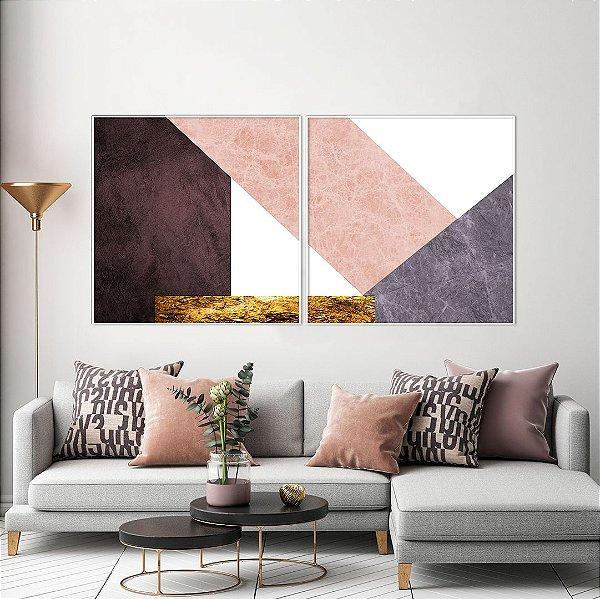 ENVIO IMEDIATO - Conjunto com 02 quadros decorativos CANVAS Geométrico Rosê - Artista Uillian Rius 80x80cm (LxA) Moldura Branca