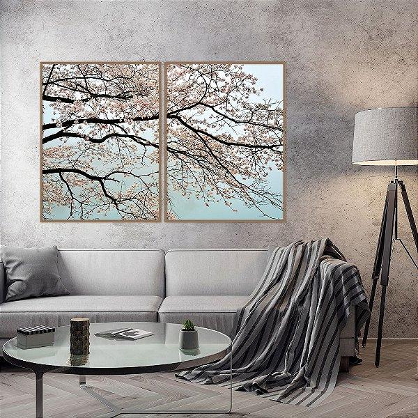 Conjunto com 02 quadros decorativos Galhos Cerejeira Rosa