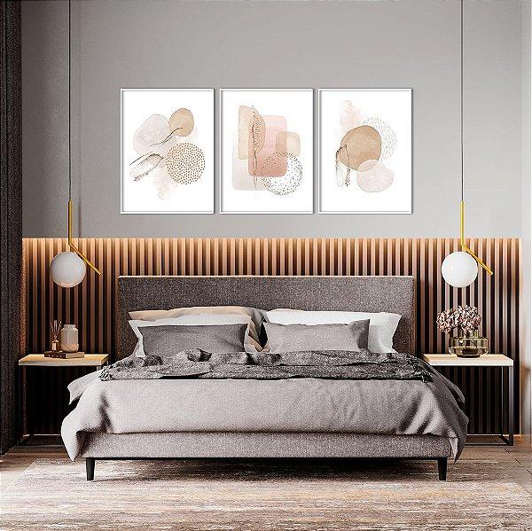 Conjunto com 03 Quadros Decorativos Abstrato Aquarela Nude e Rosê