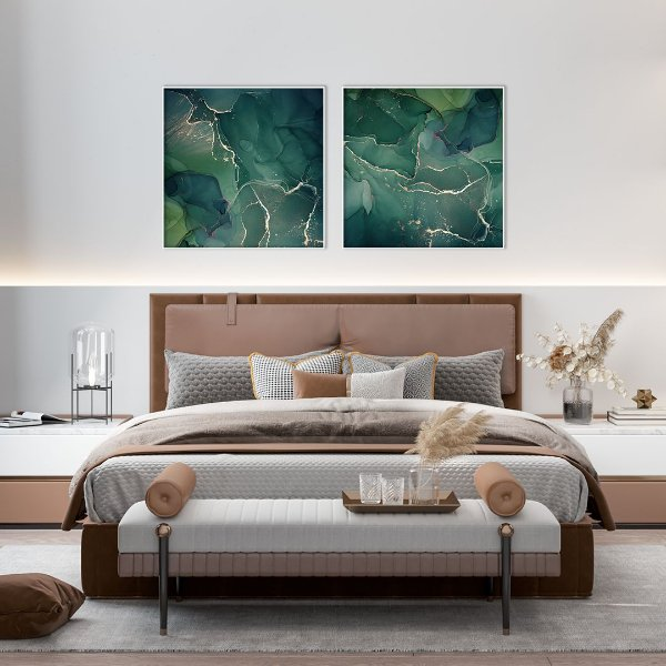 Conjunto com 02 quadros decorativos Abstrato Verde Esmeralda