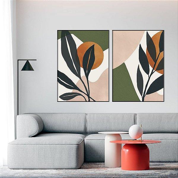 Conjunto com 02 quadros decorativos Botanical - Artista Claudia Dias