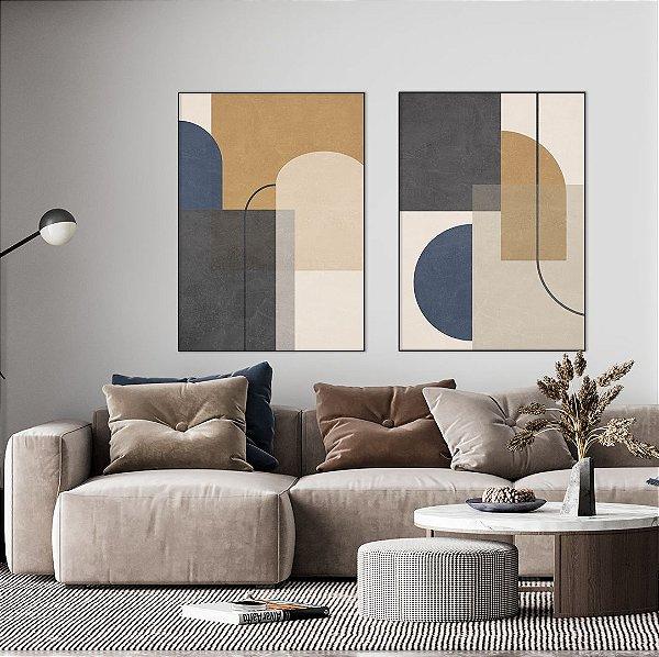 Conjunto com 02 quadros decorativos Geometric - Artista Claudia Dias