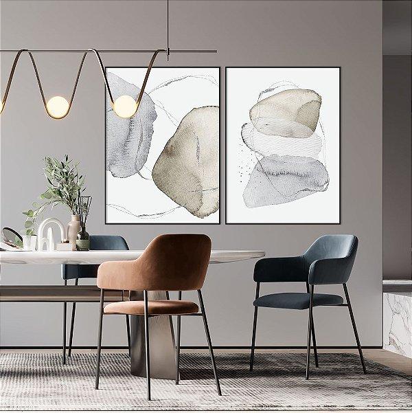 Conjunto com 02 quadros decorativos Abstract Organic - Artista Claudia Dias