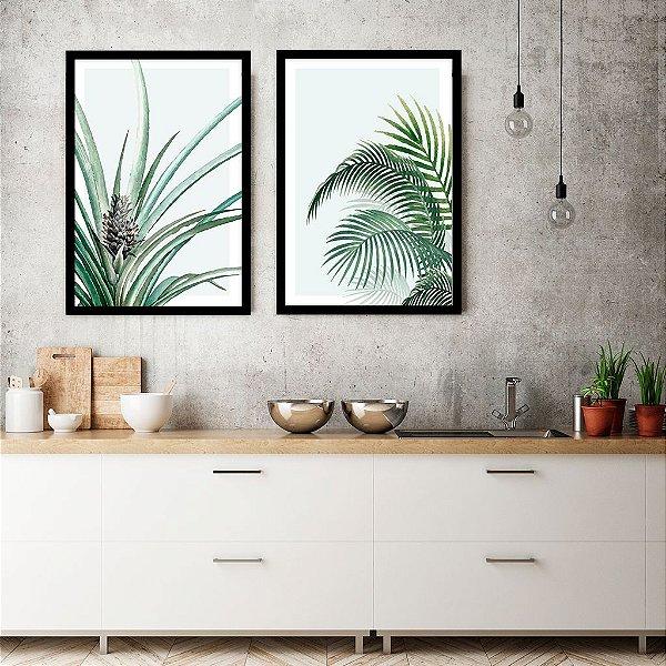 Conjunto com 02 quadros decorativos Botânica Aquarela