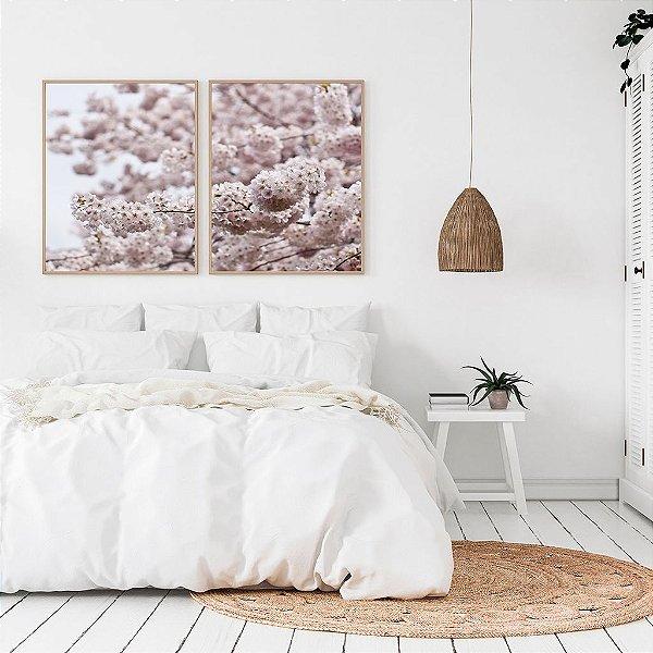 Conjunto com 02 quadros decorativos Flor de Cerejeira