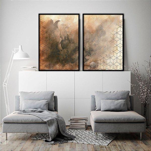 Conjunto com 02 quadros decorativos Geométrico Aquarela