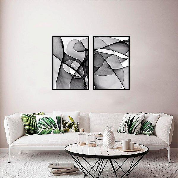 Conjunto com 02 quadros decorativos Ondas