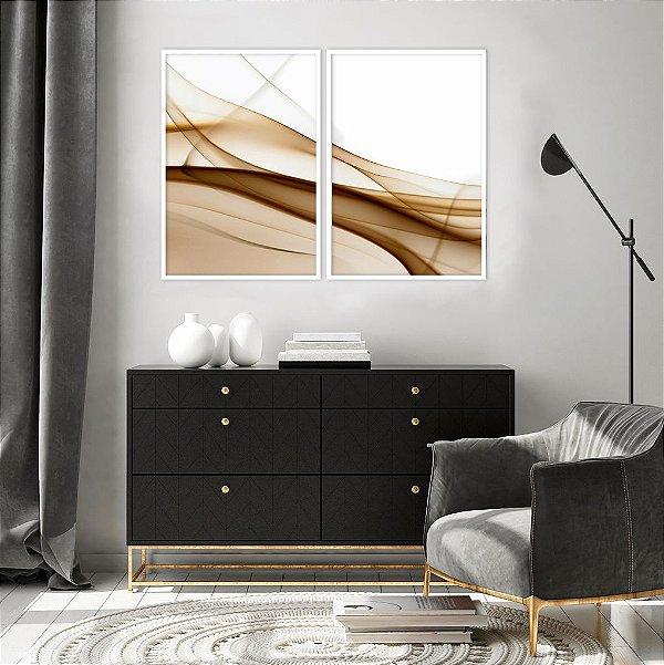 Conjunto com 02 quadros decorativos Abstrato Cobre