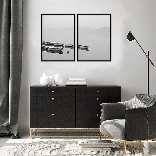 Conjunto com 02 quadros decorativos Barcos