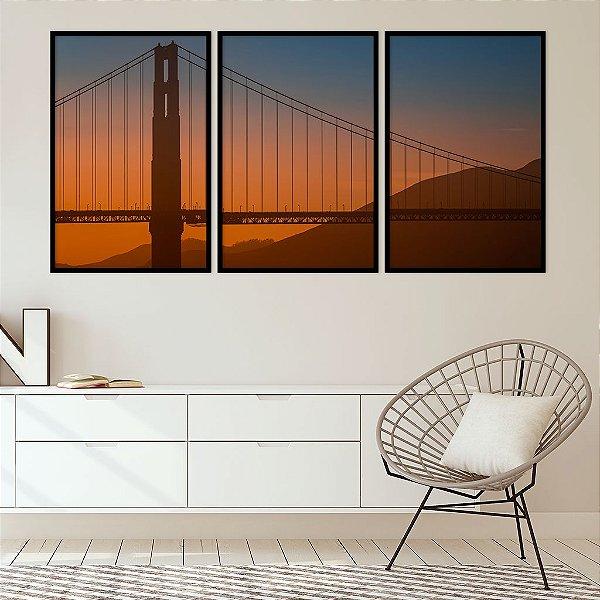 Conjunto com 03 quadros decorativos Ponte