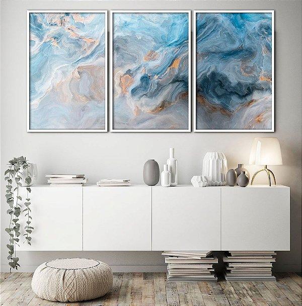 Conjunto com 03 quadros decorativos Azul Abstrato