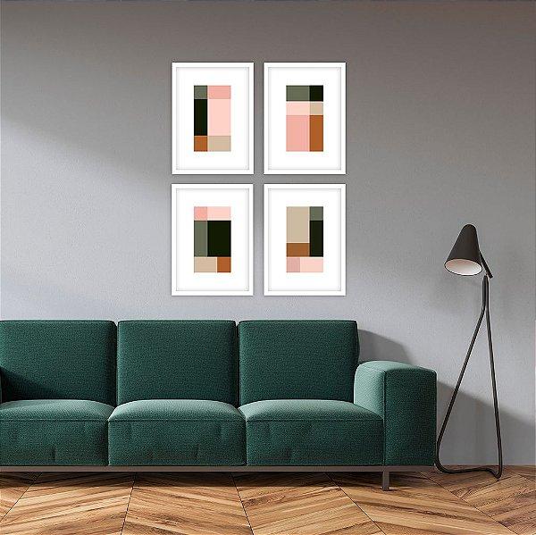 Conjunto com 04 quadros decorativos Cores Geométrico