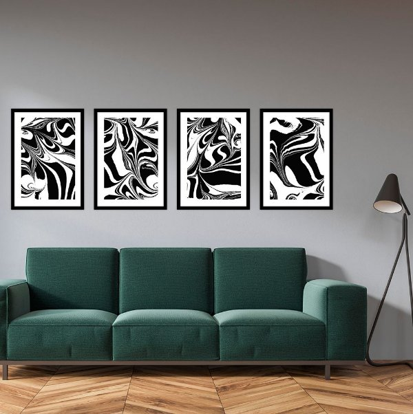 Conjunto com 04 quadros decorativos Abstract Black & White
