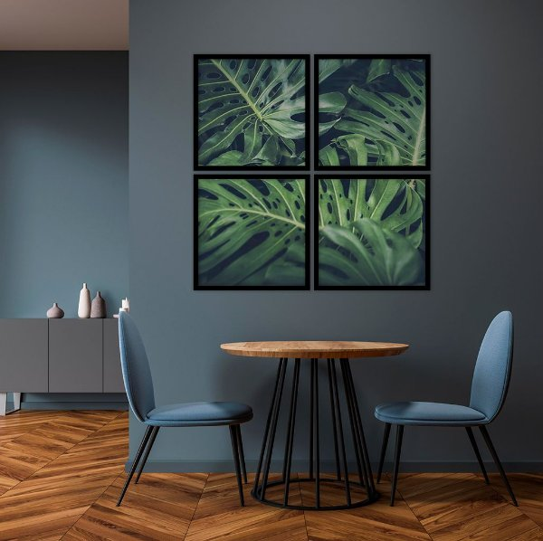 Conjunto com 04 quadros decorativos Costela-de-adão