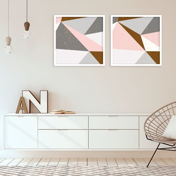 Conjunto com 02 quadros decorativos Geometric Gold
