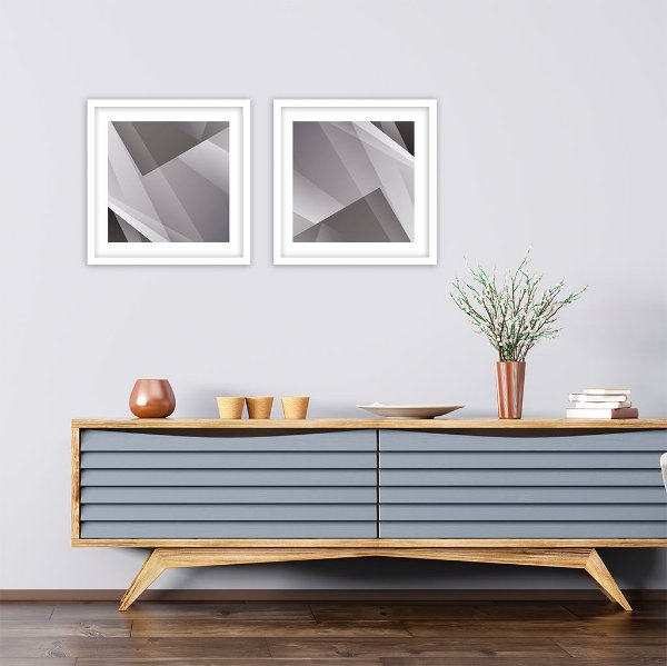 Conjunto com 02 quadros decorativos Formas