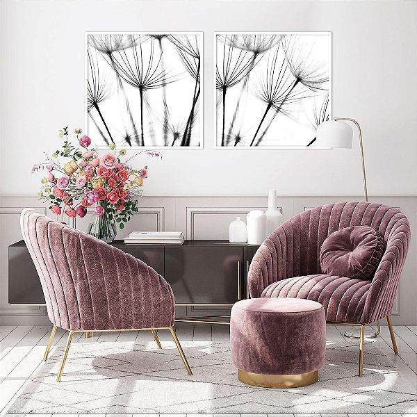 Conjunto com 02 quadros decorativos Dente-de-leão em Preto e Branco